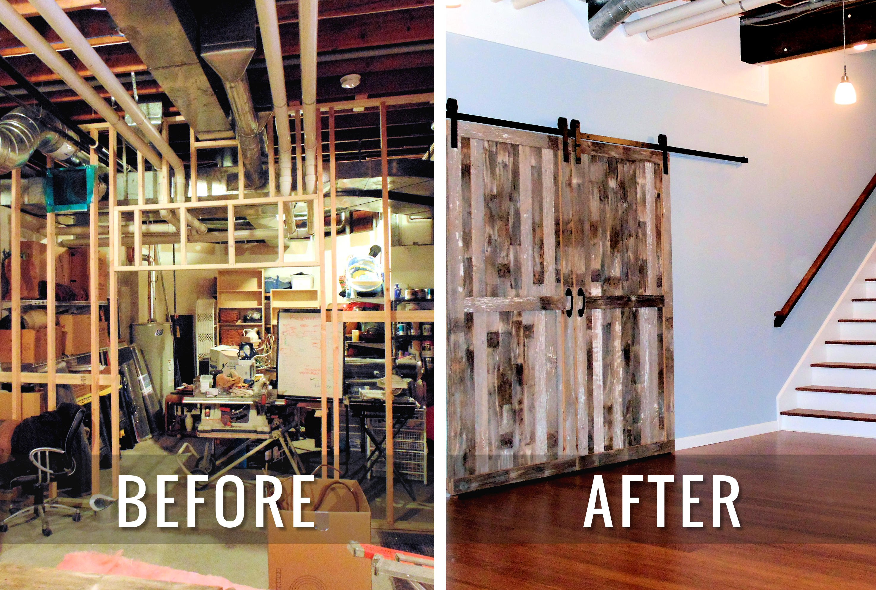 J & M Contractors — Before and After Basement Remodel 1